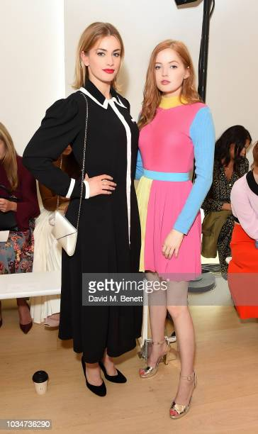 Stefanie Martini and Ellie Bamber attend the Emilia Wickstead front row during London Fashion Week September 2018 at the Phillips Gallery on...