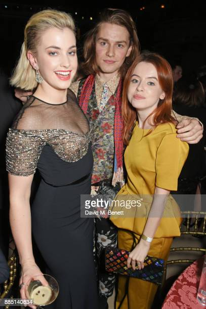 Stefanie Martini guest and Rosie Day attend the London Evening Standard Theatre Awards 2017 after party at the Theatre Royal Drury Lane on December 3...