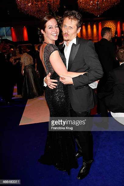 Stefanie Mensing and Roman Knizka attend the Goldene Kamera 2014 at Tempelhof Airport on February 01 2014 in Berlin Germany