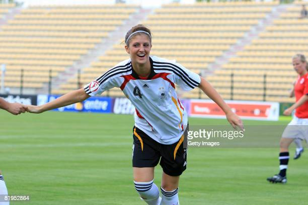 Stefanie Mirlach of Germany celebrates after her goal during the Women's U19 European Championship match between Germany and Norway at the Valle du...