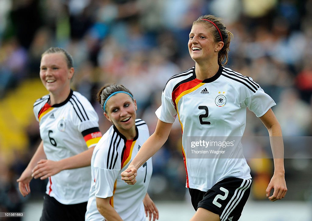 Stefanie Mirlach of Germany celebrates after scoring the 1:0 during the U20 international friendly match between Germany and South Korea at Waldstadion on June 2, 2010 in Giessen, Germany.