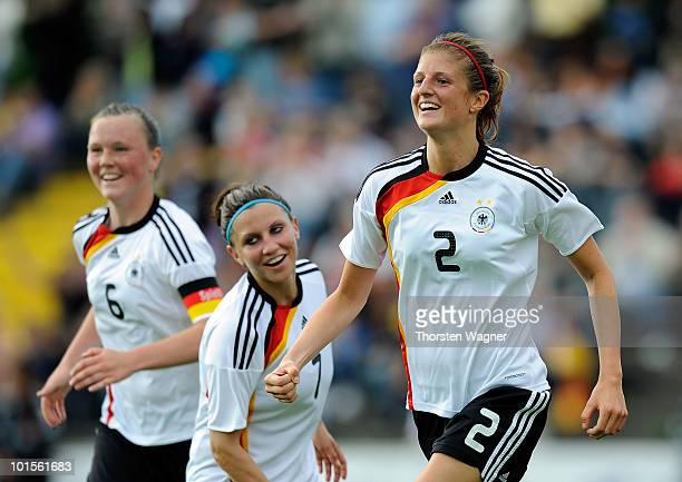 Stefanie Mirlach of Germany celebrates after scoring the 10 during the U20 international friendly match between Germany and South Korea at...
