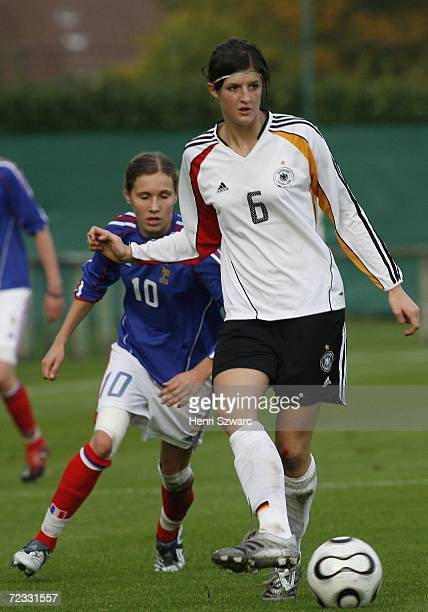 Stefanie Mirlach of Germany in action during the Women's U17 international friendly match between France and Germany on October 31 2006 in...