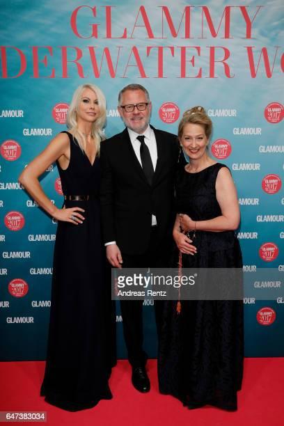 Stefanie Neureuter, Director GLAMOUR Beauty, Jochen Delvendahl and Andrea Ketterer, Chefredakteurin GLAMOUR attend the Glammy Award 2017 on March 2,...