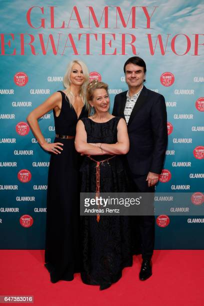 Stefanie Neureuter , Editor-in-chief GLAMOUR Andrea Ketterer and Publisher GLAMOUR Andre Pollmann attend the Glammy Award 2017 on March 2, 2017 in...
