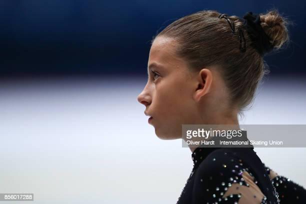 Stefanie Pesendorfer of Austria looks on prior to the Junior Ladies Free Skating Program during day four of the ISU Junior Grand Prix of Figure...