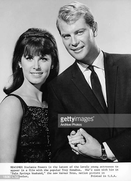 Stefanie Powers and Troy Donahue publicity portrait for the film 'Palm Springs Weekend' 1963