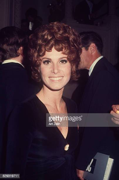 Stefanie Powers in a black evening dress at a formal event circa 1970 New York