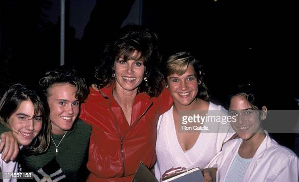Stefanie Powers niece Amy Sarstedt and guests during Stefanie Powers Birthday Party at Spago's Restaurant in Hollywood October 8 1985 at Spago's...