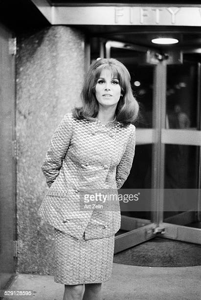 Stefanie Powers posing for photo on the street circa 1970 New York