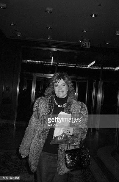 Stefanie Powers wearing a fur jacket circa 1970 New York