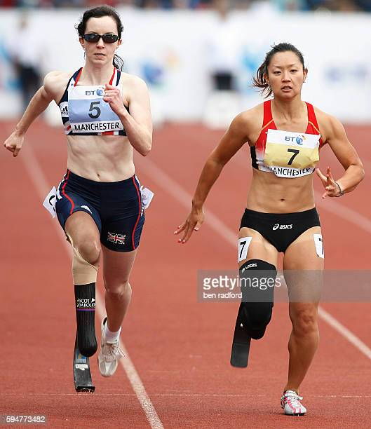 Stefanie Reid of Great Britain and Maya Nakanishi of Japan competing in the T44/46 100m at the BT Paralympic World Cup, at Sports City in Manchester,...