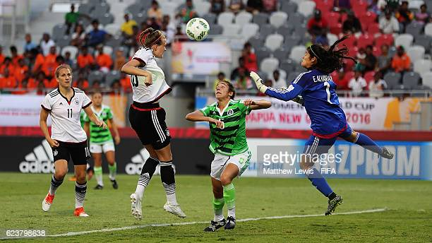 Stefanie Sanders of Germany scores a goal during the FIFA U20 Women's World Cup Papua New Guinea 2016 Group D match between Germany and Mexico at...