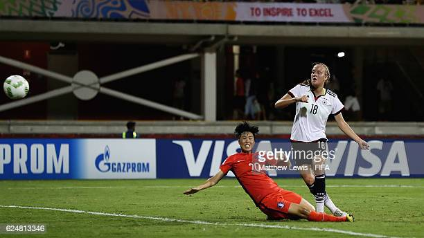 Stefanie Sanders of Germany scores a goal during the FIFA U-20 Women's World Cup Papua New Guinea 2016 Group D match between Korea Republic and Ge