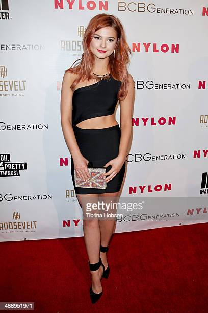 Stefanie Scott attends the Nylon Magazine May young Hollywood issue party at Tropicana Bar at The Hollywood Rooselvelt Hotel on May 8 2014 in...