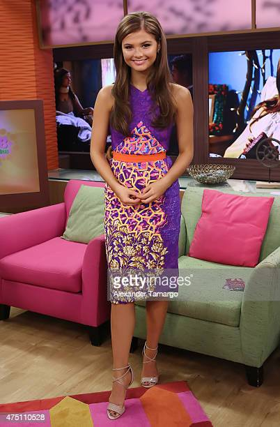 """Stefanie Scott is seen on the set of """"Despierta America"""" to promote her film """"Insidious 3"""" at Univision Studios on May 29, 2015 in Miami, Florida."""
