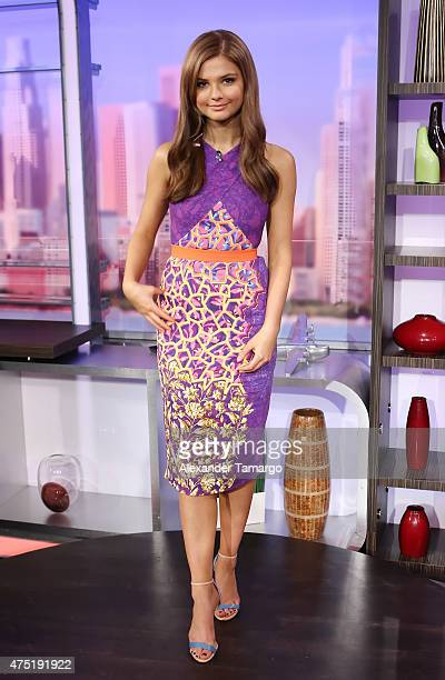 Stefanie Scott is seen on the set of El Gordo y la Flaca to promote their film Insidious Chapter 3 at Univision Studios on May 29 2015 in Miami...