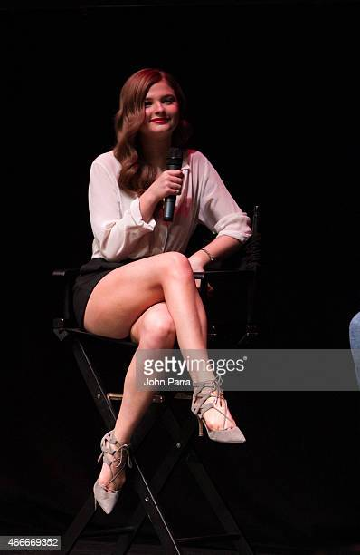 Stefanie Scott speaks during a QA at INSIDIOUS CHAPTER 3 Trailer Launch Event at The Fillmore Miami Beach on March 17 2015