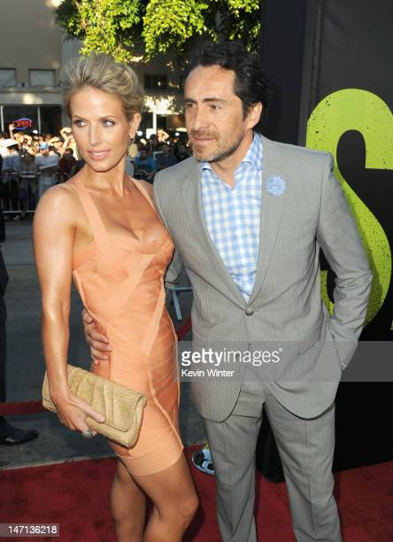 Stefanie Sherk and actor Demian Bichir arrive at Premiere of Universal Pictures' Savages at Westwood Village on June 25 2012 in Los Angeles California