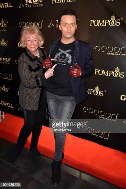 Stefanie Simon and Julian FM Stoeckel attend the Pompoeoes Welcome Party 2018 on January 14 2018 in Berlin Germany