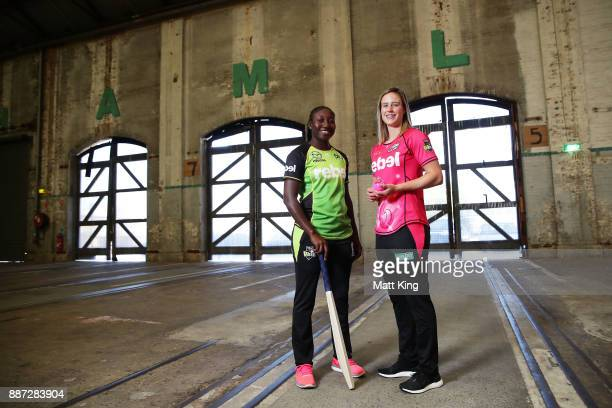 Stefanie Taylor of the Sydney Thunder and Ellyse Perry of the Sydney Sixers pose during the 201718 WBBL Women's Big Bash League season launch at...