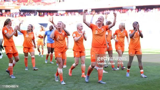 Stefanie Van der Gragt and Desiree Van Lunteren of the Netherlands celebrate following the 2019 FIFA Women's World Cup France Quarter Final match...