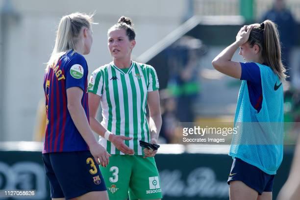 Stefanie van der Gragt of FC Barcelona Women Merel van Dongen of Real Betis Sevilla Lieke Martens of FC Barcelona Women during the Iberdrola Women's...