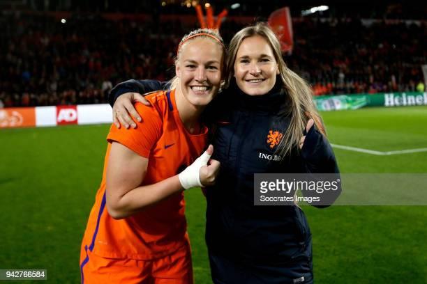 Stefanie van der Gragt of Holland Women, Desiree van Lunteren of Holland Women celebrates the victory during the World Cup Qualifier Women match...