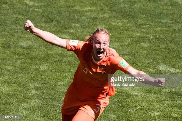 Stefanie Van Der Gragt of Netherlands celebrates her goal during the 2019 FIFA Women's World Cup France Quarter Final match between Italy and...