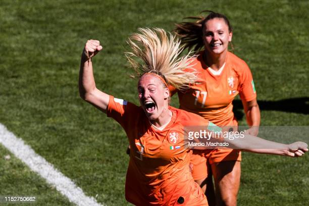 Stefanie Van Der Gragt of Netherlands celebrates her goal during the 2019 FIFA Women's World Cup France Quarter Final match between Italy and...