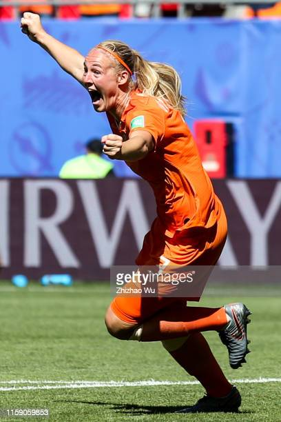 Stefanie Van Der Gragt of Netherlands celebrates her goal during the 2019 FIFA Women's World Cup France Quarter Final match between Italy and and...