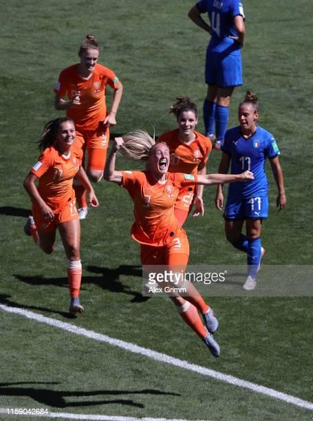 Stefanie Van der Gragt of the Netherlands celebrates after scoring her team's second goal during the 2019 FIFA Women's World Cup France Quarter Final...