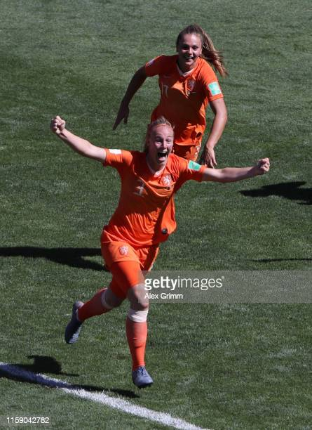 Stefanie Van der Gragt of the Netherlands celebrates after scoring her team's second goal during the 2019 FIFA Women's World Cup France Quarter Final...
