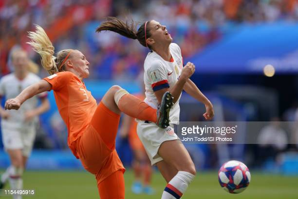 Stefanie Van Der Gragt of the Netherlands fouls Alex Morgan of the United States during the 2019 FIFA Women's World Cup France final match between...