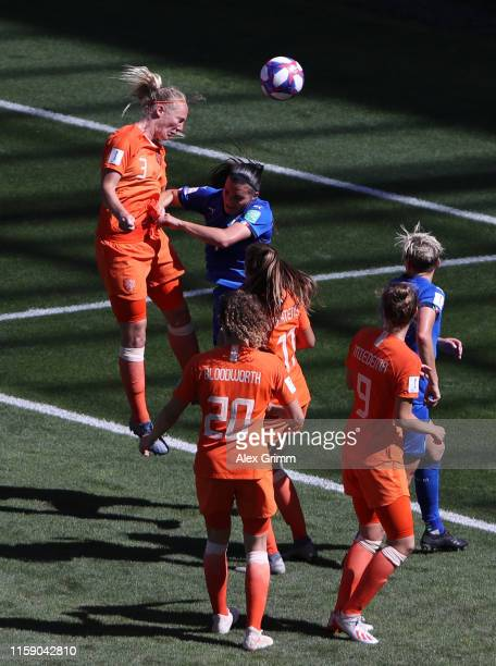 Stefanie Van der Gragt of the Netherlands scores her team's second goal during the 2019 FIFA Women's World Cup France Quarter Final match between...
