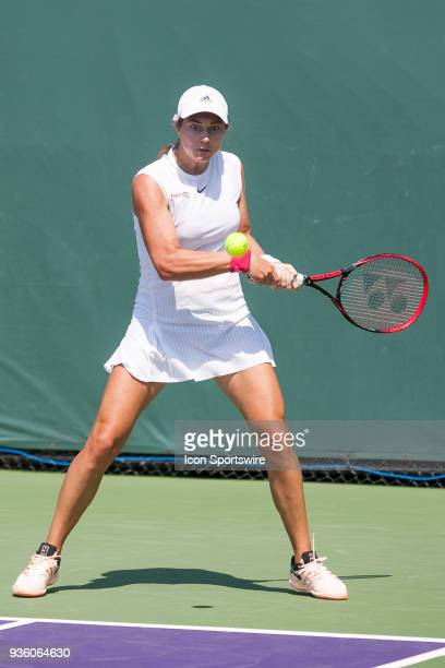 Stefanie Voegele competes during the qualifying round of the 2018 Miami Open on March 20 at Tennis Center at Crandon Park in Key Biscayne, FL.