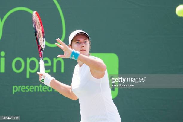 Stefanie Voegele competes during the qualifying round of the 2018 Miami Open on March 19 at Tennis Center at Crandon Park in Key Biscayne, FL.