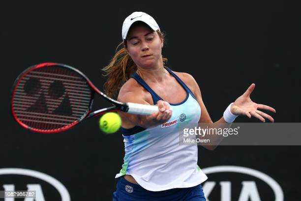Stefanie Voegele of Switzerland plays a backhand in her first round match against Su-Wei of Hsieh of Taipan during day two of the 2019 Australian...