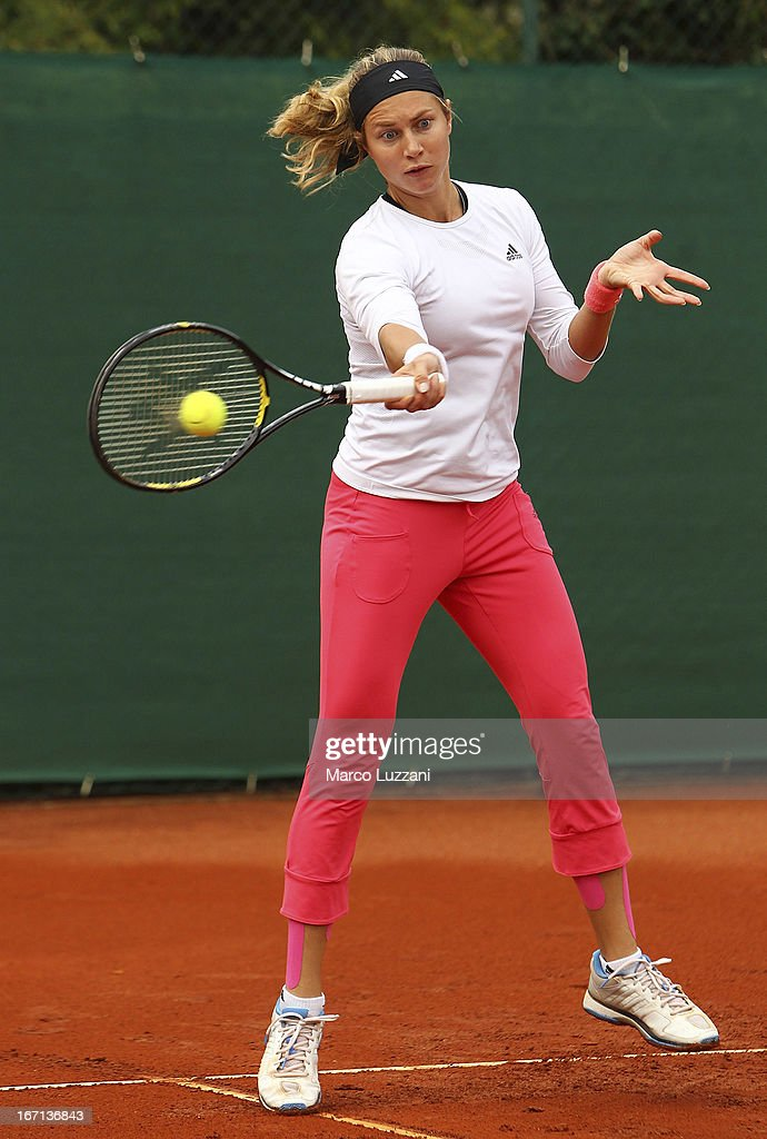 Stefanie Voegele of Switzerland plays a forehand during a training session during day two of the Fed Cup World Group Play-Offs between Switzerland and Australia at Tennis Club Chiasso on April 21, 2013 in Chiasso, Switzerland.