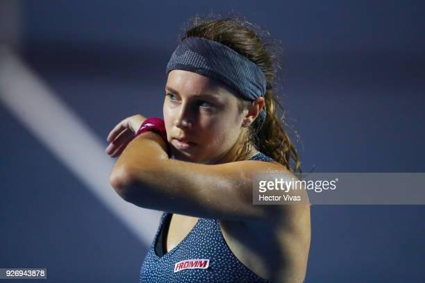 Stefanie Voegele of Switzerland reacts a shot during a semifinal match between Stefanie Voegele of Switzerland and Rebecca Peterson of Sweden as part...
