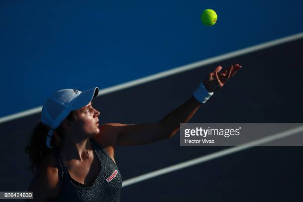 Stefanie Vogele of Switzerland serves during the match between Sloane Stephens of USA and Stefanie Vogele of Switzerland as part of the Telcel ATP...