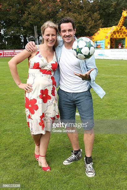 Stefanie von Poser and Markus Brandl die Bergretter during the charity football game 'Kick for Kids' to benefit 'Die Seilschaft zusammen sind wir...