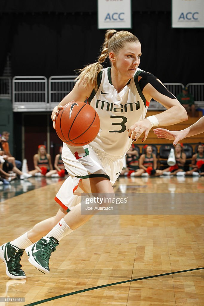 Stefanie Yderstrom #3 of the Miami Hurricanes drives to the basket against the Penn State Lady Lions on November 29, 2012 at the BankUnited Center in Coral Gables, Florida.