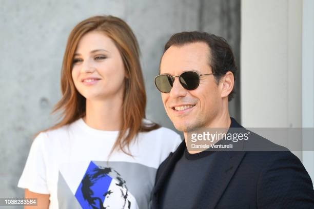 Stefano Accorsi and Bianca Vitali arrive at the Giorgio Armani show during Milan Fashion Week Spring/Summer 2019 on September 23 2018 in Milan Italy