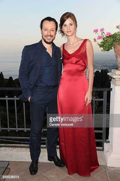 Stefano Accorsi and Bianca Vitali attend a cocktail party ahead of Nastri D'Argento on July 2 2016 in Taormina Italy
