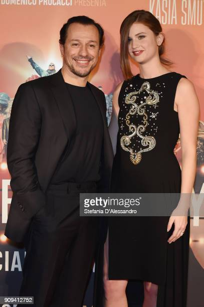 Stefano Accorsi and Bianca Vitali attend 'Made In Italy' photocall on January 23 2018 in Milan Italy
