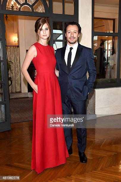 Stefano Accorsi and Bianca Vitali attend the Nastri D'Argento Awards 2014 Cocktail on June 28 2014 in Taormina Italy