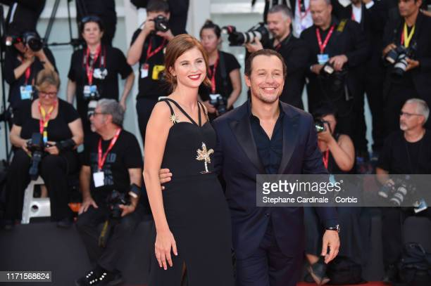 Stefano Accorsi and Bianca Vitali walk the red carpet ahead of the The Laundromat screening during the 76th Venice Film Festival at Sala Grande on...
