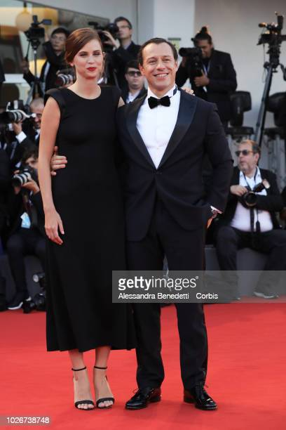 Stefano Accorsi and Bianca Vitali walks the red carpet ahead of the 'Vox Lux' screening during the 75th Venice Film Festival at Sala Grande on...