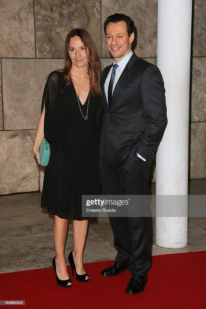 Stefano Accorsi and Maria Sole Tognazzi attend the 'Viaggio Sola' premiere at Ara Pacis on March 26, 2013 in Rome, Italy.